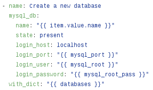 Ansible MySQL role - creating databases and users