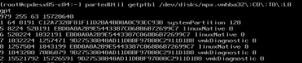 partedUtil output with coredump partition #2