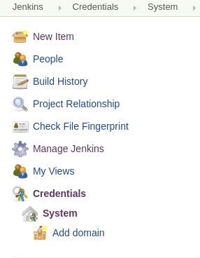 Jenkins Credentials in the menu