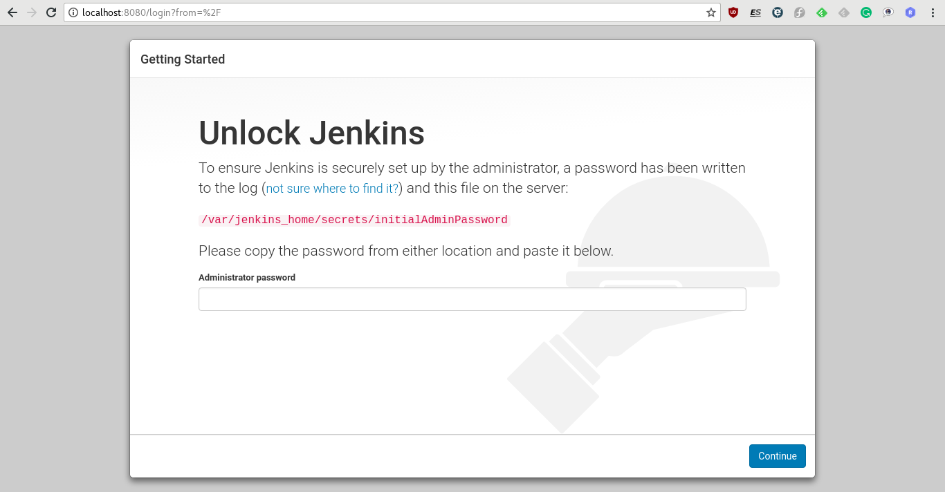 Jenkins with Docker - login screen