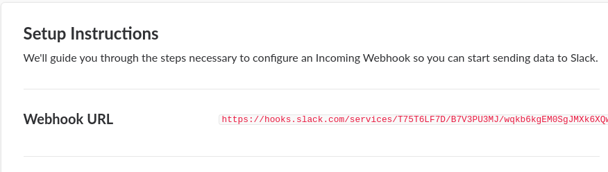 Slack incoming webhook