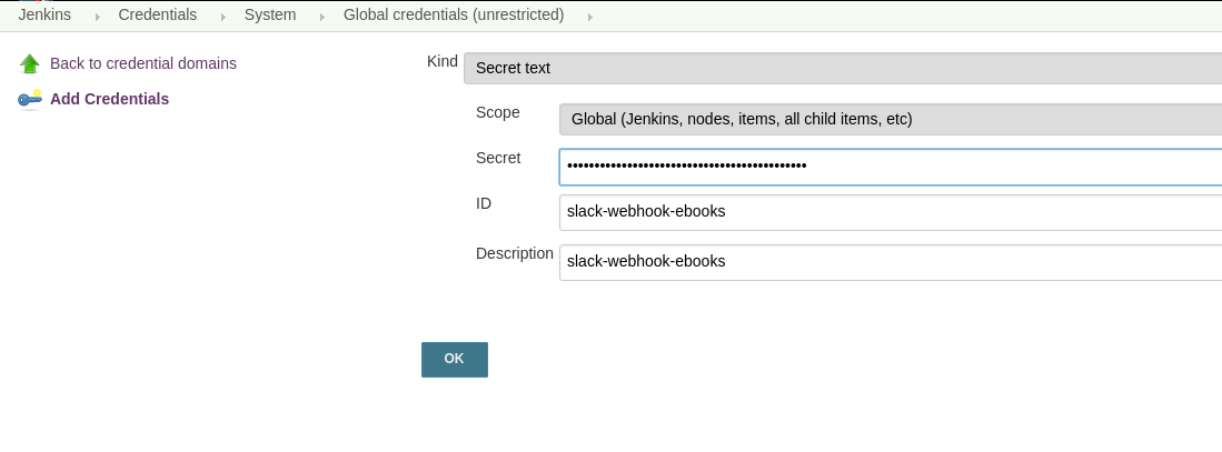 Jenkins credential - incoming webhook