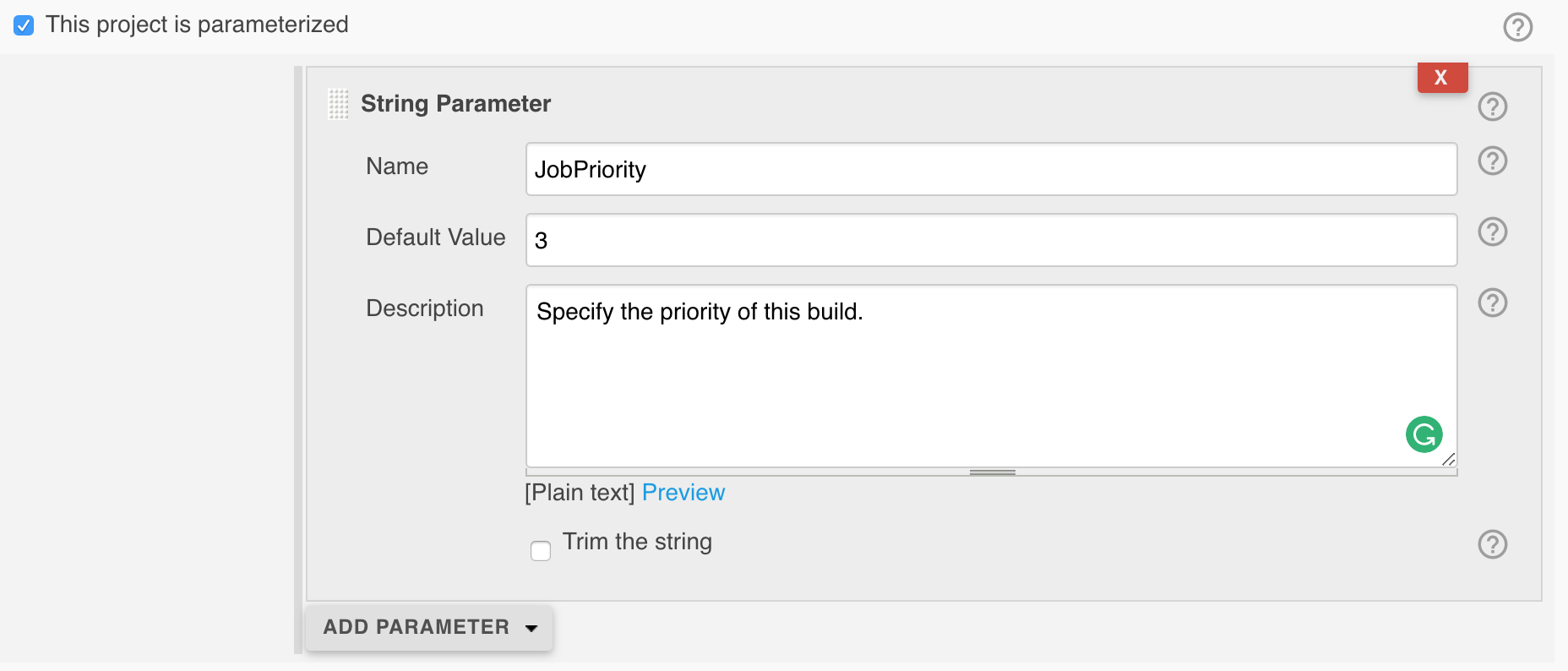 Jenkins job priority parameter