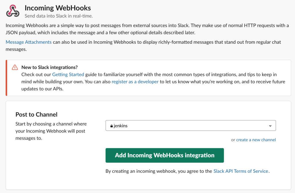 Incoming WebHook creation